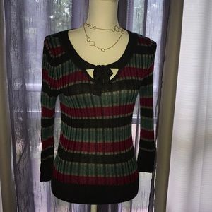 DKNY Striped Ribbed Sweater